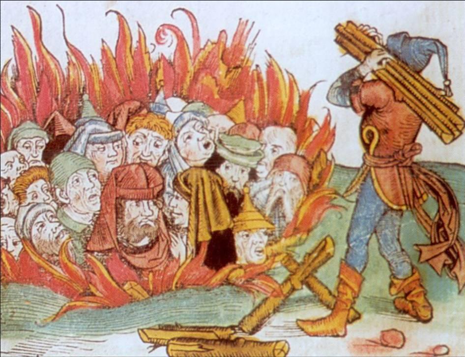 Palenie Żydów, domniemanych siewców zarazy, drzeworyt z Kroniki Norymberskiej
